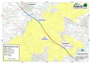 The proposed tunnel would be on the red & green bit next to Amersham on this map.