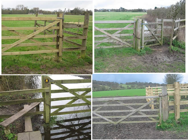 several illegally locked gates on the Common preventing riders from riding on the Common.